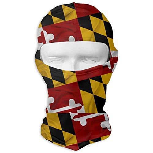 (BEIKE6&MIAN Waving Maryland State Flag Pattern Balaclava-Ski Mask for Men Women Cycling Face Mask Hood)