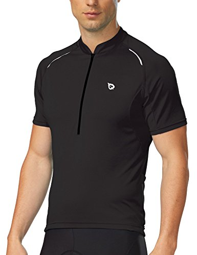 Baleaf Men's Half-Zip Short Sleeve Cycling Jersey Black Size - Skinsuit Mens Cycling