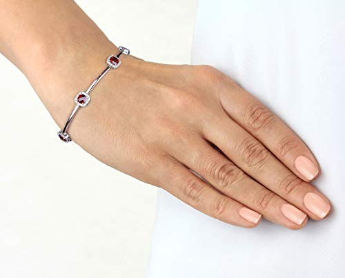 (Solid white gold with genuine halo design natural cushion cut garnets and diamond line bracelet)
