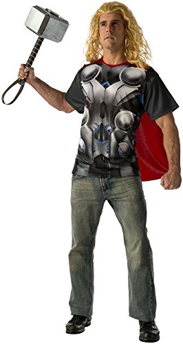 Rubie's Costume Co Men's Avengers 2 Age Of Ultron Adult Thor T-Shirt and Cape, Multi, X-Large (Superhero Team Costumes)