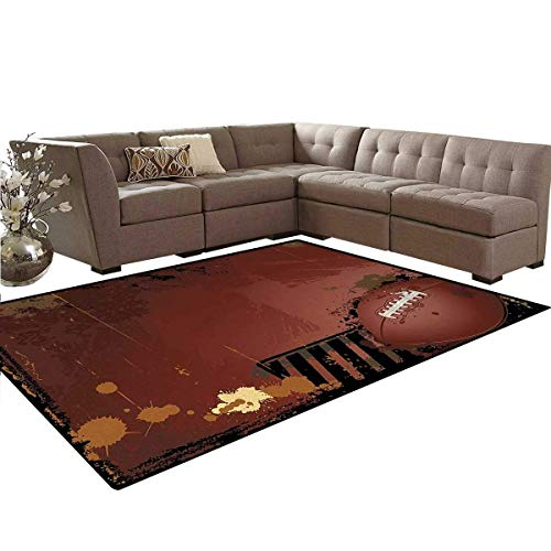 - Sports,Rug,Maroon Grunge Rugby Theme with Game Elements Competition Win Sports Artisan Image,Oriental Floor and Carpets,Brown Black,5'x7'