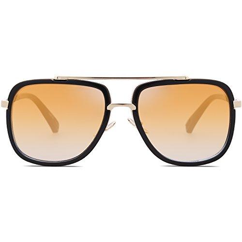 8f3f08860f SojoS Classic Square Aviator Sunglasses Oversized Double Bar Metal Frame  SJ1080 C4 Black Frame Gold ...