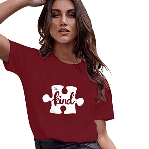 Casual Graghic T Shirt for Women,QueenMMWomen Basic Printed Short Sleeve O Neck Tops Flower and Ladybug Blouse t-Shirt Wine (Bravado Bikini Panty)