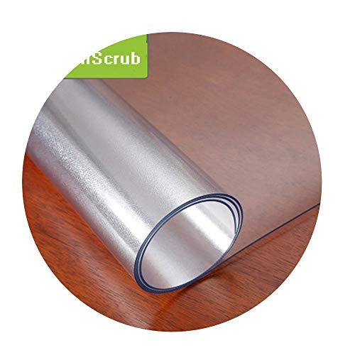 DraFenn PVC Tablecloth Transparent Waterproof TableclothOil Tablecloth Glass Soft Cloth 1.0Mm,Frosted Translucent,90X120Cm