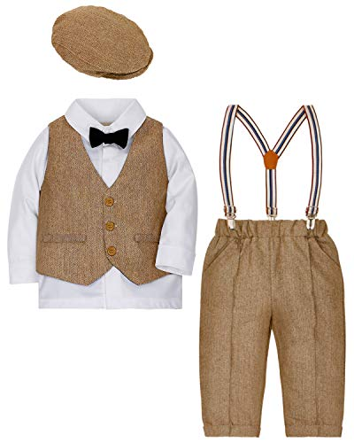 (DISAUR Baby Boys Gentleman Outfits Suits Tuxedo 4 pcs Hat + Bow Ties Shirts + Vest + Suspenders Pants for 1-3 Years)