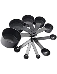 Win 10 Pcs Plastic Measuring Cup and Spoon Set with Loops Tools For Kitchen Baking Coffee Black wholesale