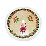 Weite Cloth Christmas Tree Plaid Skirt with Two Adjustable Ties - Large Round Indoor Outdoor Santa Claus Pattern Mat Ornaments Xmas Party Holiday Decorations (C)