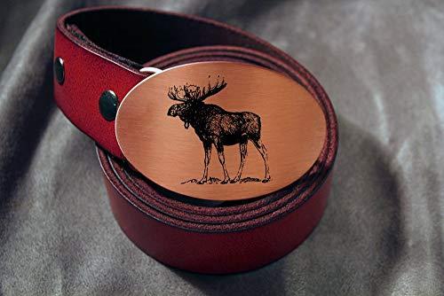 Moose HANDMADE Etched Metal Belt Buckle