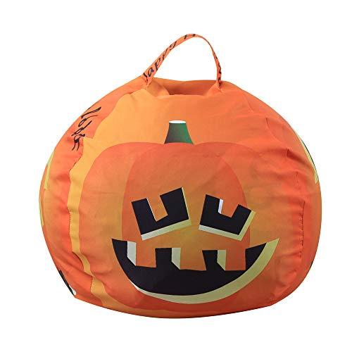 Fork And Beans Halloween (Motop Halloween Pumpkin Kids Stuffed Animal Toy Storage Bean Bag Soft Stripe Chair)
