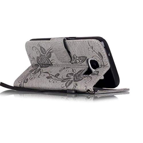 JIALUN-Personality teléfono shell Funda de cuero de la caja de la PU del caso de la galaxia S7 de Samsung con el soporte folio del Rhinestone de la resina y del folio de la ejecución para Samsung Gala Gray