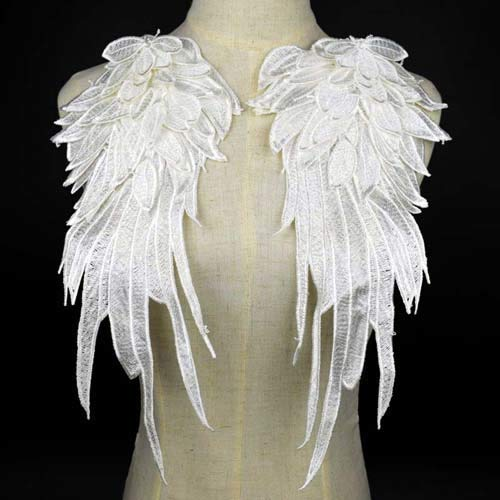 Lace Crafts - 1 Pair Stylish Embroidered Angel Wings Fabric Patch Shoulder Decorations Venise Lace Applique DIY Halloween Costume BW030 - (Color: White) ()