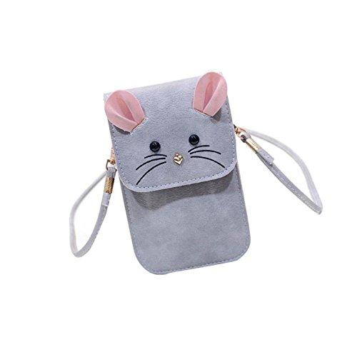 Owill Cute Women Rat Pattern Leather Handbag Cross Body Simple Shoulder Bag (A, (Rat Bag)