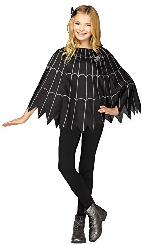 UHC Girl's Spiderweb Poncho Cape Dress Spooky Kids Halloween Costume, (Spooky Costume Ideas For Halloween)