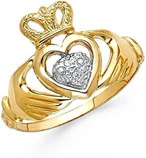 14K Solid Yellow Gold Two Tone Claddagh Ring