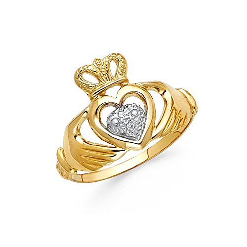 14k Yellow & White Gold Claddagh Heart Ring Irish Style Love Band Polished Fancy Two Tone 13MM, Size 7 by ZenJewels