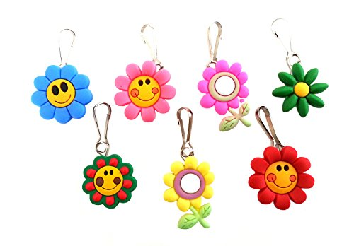- 7 pcs Small Flowers # 1 Zipper Pull Charms for Jacket Backpack Bag Pendant