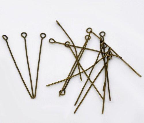Housweety 400PCs Bronze Tone Eye Pins 42x0.7mm(21 gauge) HOUSWEETYB01748-1