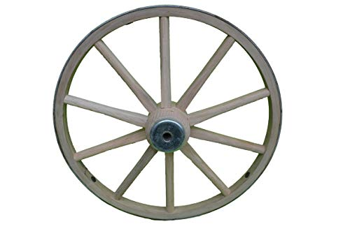 AMISH WARES Functional - Wood Wagon Wheel - Small Cart Wooden Wagon Wheels - 14 inch with 10 staggard spokes and 1/2 inch steel sleeve axle -