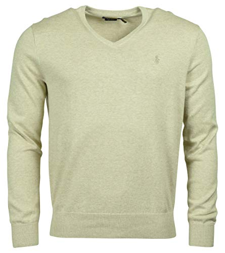 Polo Ralph Lauren Men's Pima Cotton V-Neck Sweater - S - Natural Tan