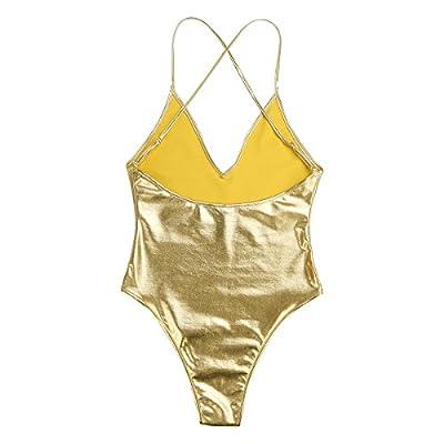 Freebily Women's Sexy Leather Spaghetti Shoulder Straps Deep V Bodycon Dance Leotard Bodysuit