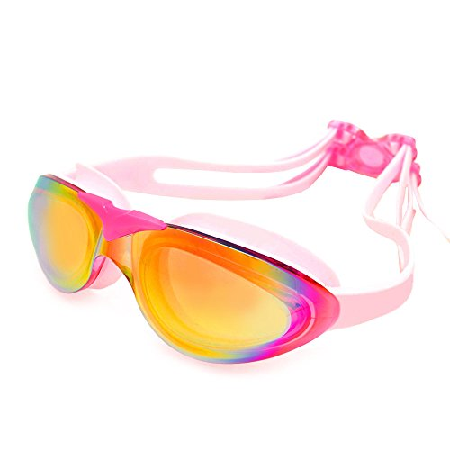 YFX Create Swim Goggles, Swimming Goggles No Leaking Anti Fog UV Protection Triathlon Swim Goggles with Free Protection Case for Adult Men Women and Youth (Pink) by YFX Create