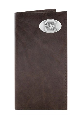 Gamecock Leather (NCAA South Carolina Fighting Gamecocks Brown Wrinkle Leather Roper Concho Wallet, One Size)