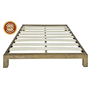 In Style Furnishings Stella Modern Metal Low Profile Thick Slats Support Platform Bed Frame – Twin Size, Gold