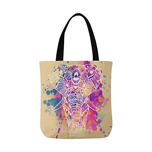 InterestPrint Flamingo Bird Canvas Tote Bag Handbag
