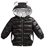 Etecredpow Boy Zip Quilted Loose Pocket Padded Hoodid Down Jacket Parka Coat Black 3T