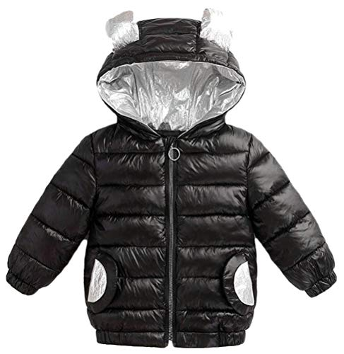 Etecredpow Boy Zip Quilted Loose Pocket Padded Hoodid Down Jacket Parka Coat Black 3T by Etecredpow