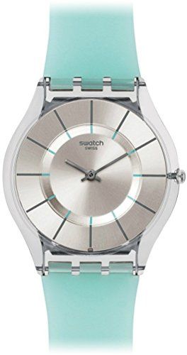 Swatch Skin Summer Breeze Blue - Strap, Dail - Grey Dial Silicone Strap Ladies Watch SFK397