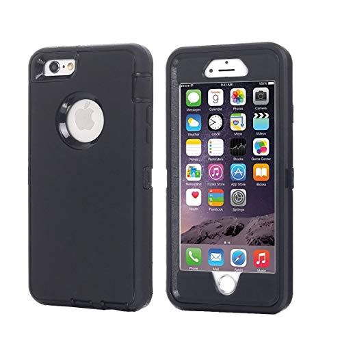 AICase iPhone 6 Plus Case,iPhone 6S Plus Case [Heavy Duty] Built-in Screen Protector Tough 4 in 1 Rugged Shockproof Cover for Apple iPhone 6 Plus / 6S Plus (Black) (Best Tough Iphone 4 Case)