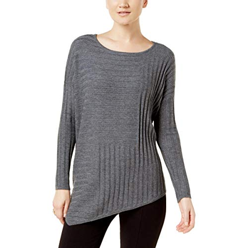 INC Womens Wool Asymmetrical Pullover Sweater Gray M ()