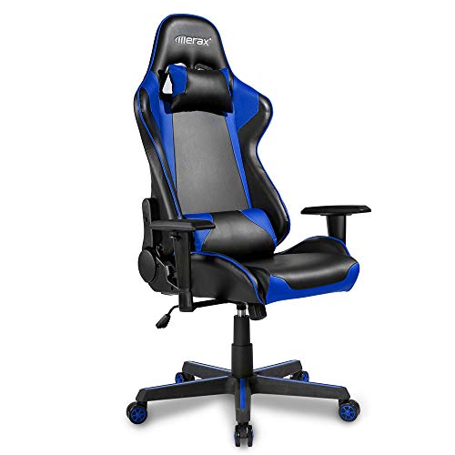 Gaming Chair, Yetech Office Chair High Back Computer Chair PU Leather Desk Chair PC Racing Executive Ergonomic Recliner Reclining Chair with Headrest and Lumbar Support (Blue)