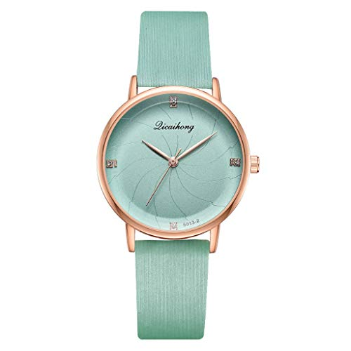 Saying Women Wristwatch Simple Bracelet Stylish Sea Thread Flat Dial With Quartz Ladies Watch Female Solid Color Watch Band Stereoscopic Shiny Timepiece (Mint Green)