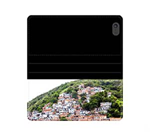 Favela, brasileño ladera en río en un Barrio pobre Janeiro caja de la carpeta de cuero protector de con ranuras para tarjetas e Scheinfach iPhone 4 4S 5 5S 6 6S/Samsung S3 S4 S5