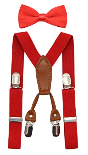 JAIFEI Toddler Kids 4 Clips Adjustable Suspenders and Matching Bow Tie Set (Red)]()