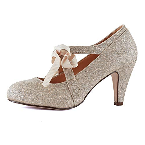 Womens Vintage Mary Jane Pumps Low Kitten Heels Retro Round Toe Shoe with Ankle Strap (6 M US, Gold Glitter) -