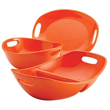 Rachael Ray Stoneware 3-Piece Serving Set, Orange