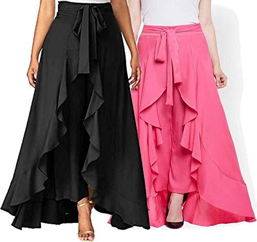PSK EXPORTS Flared Women Black Crepe Trousers Black, Pink