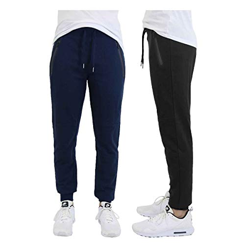 DARESAY 2 Pack of Mens French Terry Joggers Casual Active Gym Running Sweatpants with Zipper Pockets, Navy/Black, Medium
