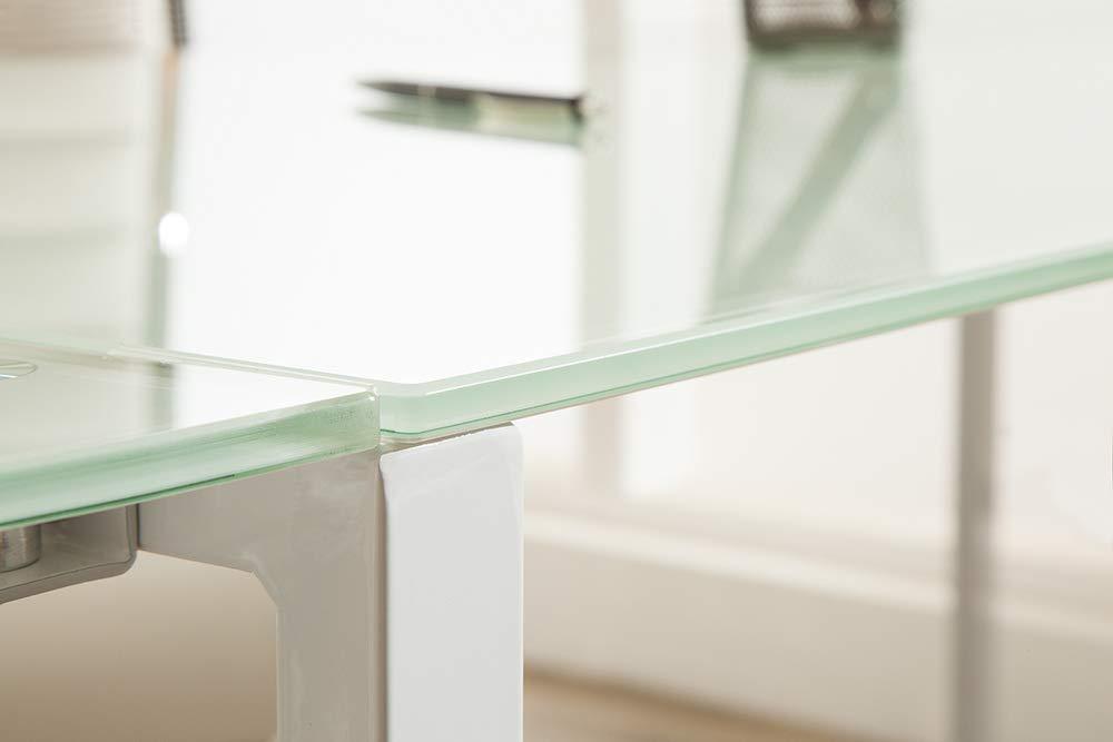 Riess Ambiente Eck-Schreibtisch Big Deal 180cm mattwei/ß Glas B/ürotisch Tisch Schreibtisch Ecktisch