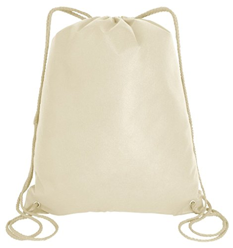 Promotional Non-Woven Drawstring Backpacks for Giveaway Favors or Daily Use, Natural, Set of 50 by Jumbuzz (Image #2)