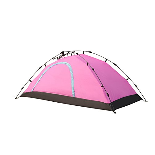 1 person tent single automatic tent single camping tent Oxford cloth camping and hiking waterproof heat/super warm light (Color : Pink)