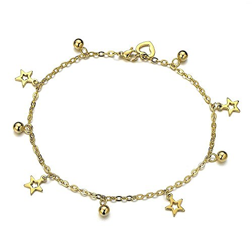 Gold Anklet Bracelet with Dangling Charms of Stars in Stainless Steel (Dangling Star Anklet)