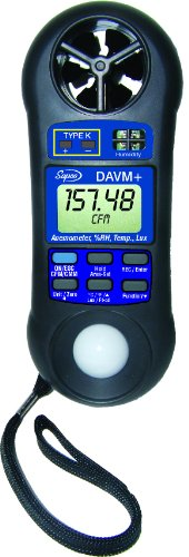 Supco DAVM+ Digital Air Flow Meter, Vane Anemometer, Thermometer, Hygrometer, Light Meter