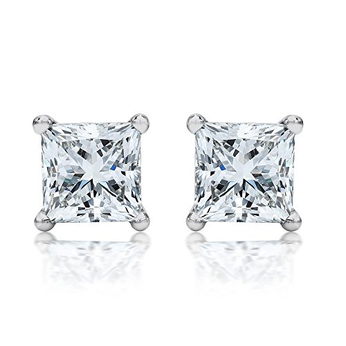 1 Carat 18K White Gold Solitaire Diamond Stud Earrings Princess Cut 4 Prong Push Back (I-J Color, VS1-VS2 Clarity)