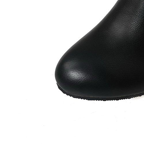 Allhqfashion Dames Stevige Hoge Hakken Ronde Gesloten Teen Pu Aantreklaarzen Zwart