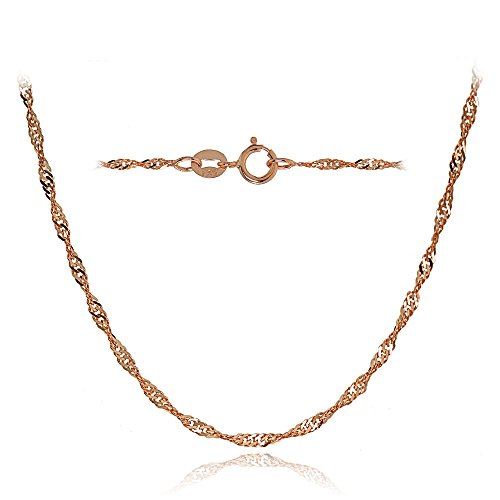 Bria Lou 14k Rose Gold 1.4mm Italian Singapore Chain Necklace, 24 Inches by Bria Lou