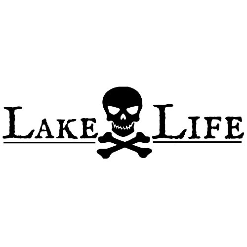 CrafteLife Lake Life Decal Bumper Sticker Pirate Skull Crossbones | 12 in x 3 in | Fits Car Truck SUV Boat Motorcycle and More | Premium Vinyl Car Decals Made in USA